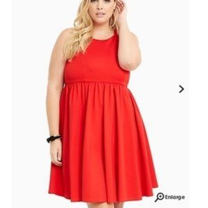 Red Halter Cocktail Skater Dress
